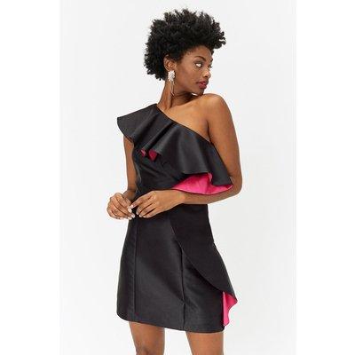 Ruffle Front Sleeveless Dress Black, Black