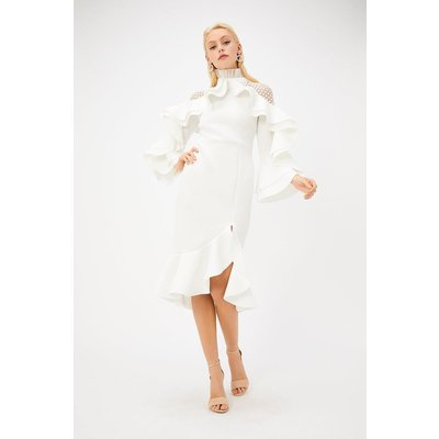 Scuba High Neck Lace Insert Ruffle Detail Dress White, White