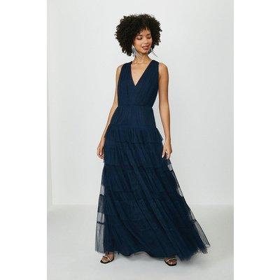 Coast Tulle Tiered Maxi Bridesmaid Dress, Navy
