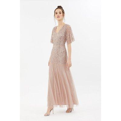Sequin Angel Sleeve Maxi Dress Pink, Pink