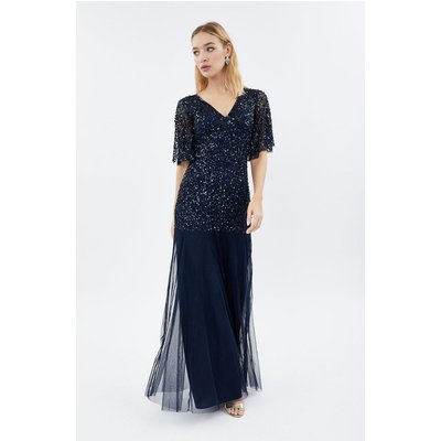 Coast Sequin Angel Sleeve Maxi Bridesmaid Dress -, Navy