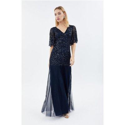 Coast Sequin Angel Sleeve Maxi Bridesmaid Dress, Navy