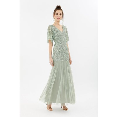 Coast Sequin Angel Sleeve Maxi Bridesmaid Dress -, Sage