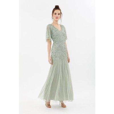Coast Sequin Angel Sleeve Maxi Bridesmaid Dress, Sage
