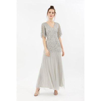 Sequin Angel Sleeve Maxi Dress Silver, Silver