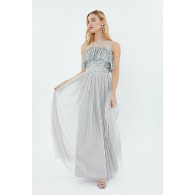 Coast Sequin Tulle Frill Bodice Maxi Bridesmaid Dress, Silver