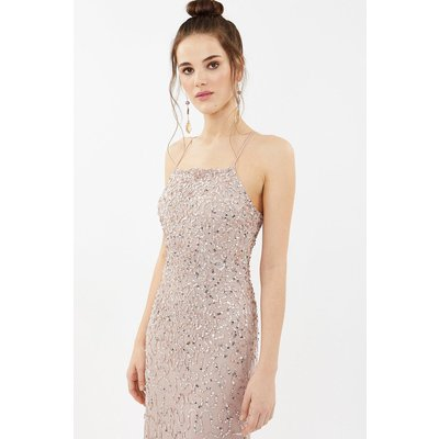 All Over Sequin Cross Over Back Maxi Dress Pink, Pink