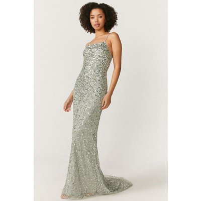 Coast All Over Sequin Cross Over Back Maxi Dress -, Sage