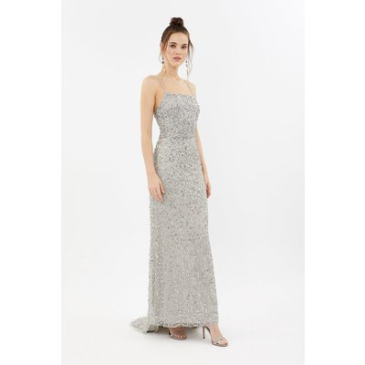 All Over Sequin Cross Over Back Maxi Dress Silver, Silver