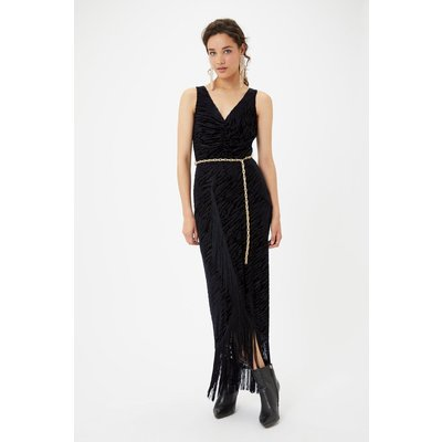 Animal Devore Tassel Dress Black, Black