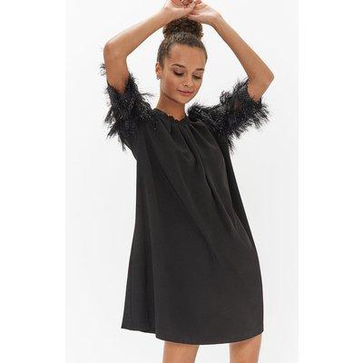 Sparkle Sleeve Shift Dress Black, Black
