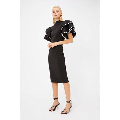 Scuba Ruffle Sleeve Midi Dress Black, Black