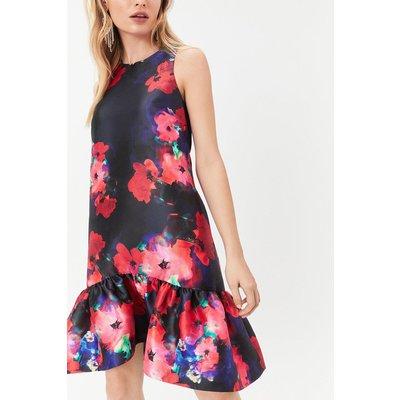 Curve Printed Peplum Hem Dress Multi, Multi