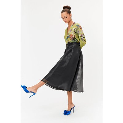 Stripe Burnout Full Midi Skirt Black, Black