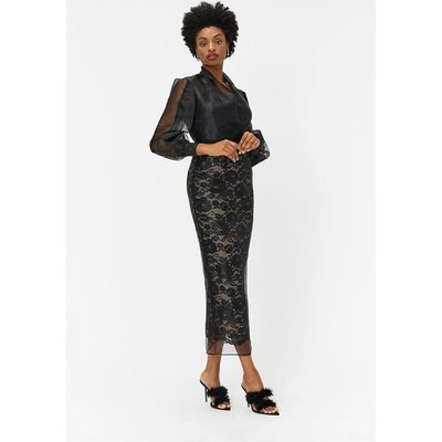 Lace Organza Pencil Skirt Black, Black