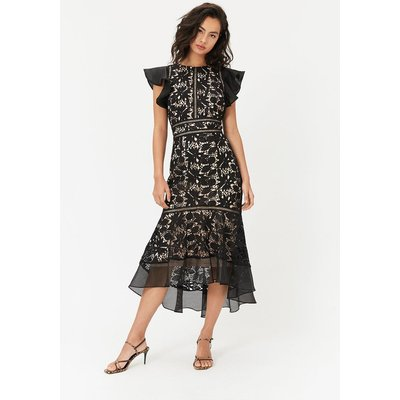 Floral Lace Frill Sleeve Dress Black, Black