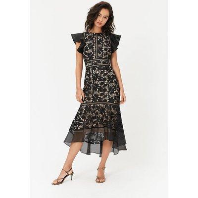 Floral Lace Frill Sleeve Dress Black, Black