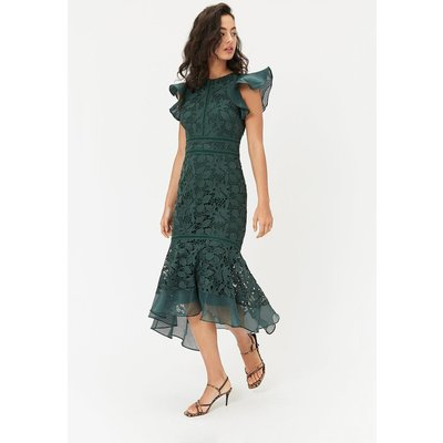 Floral Lace Frill Sleeve Dress Green, Green
