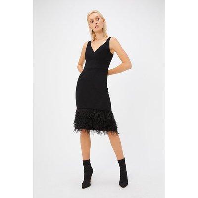 Feather Hem Dress Black, Black