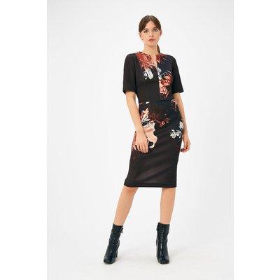 Plus Size Scuba Print Shift Dress Black, Black