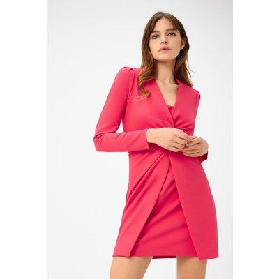 Scuba Crepe Twist Dress Pink, Pink