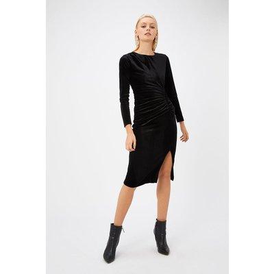 Velvet Ruched Dress Black, Black