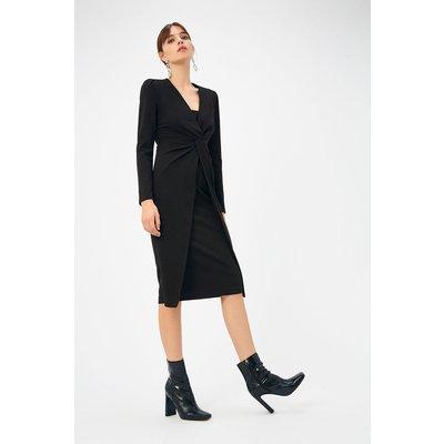 Scuba Crepe Twist Midi Dress Black, Black