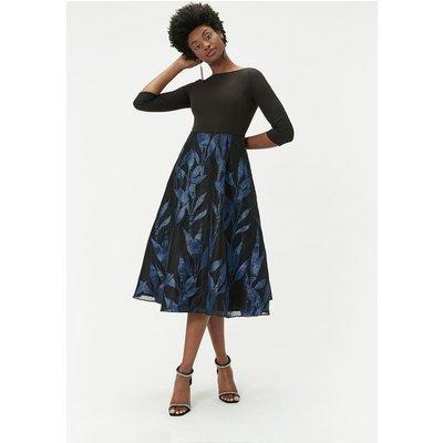 Jacquard Midi Dress Black, Black