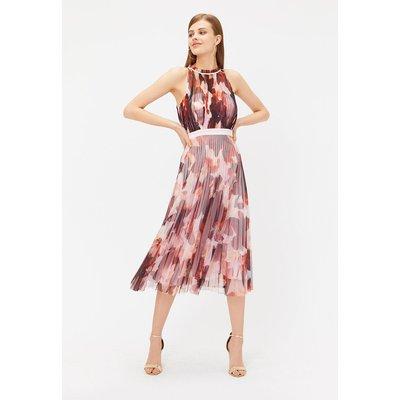 Pleated Tulle Midi Dress Multi, Multi