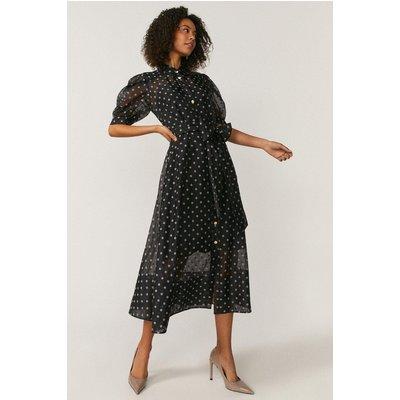 Coast Spot Organza Puff Sleeve Dress, Black