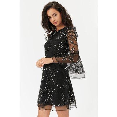 Embroidered Flute Sleeve Dress Black, Black