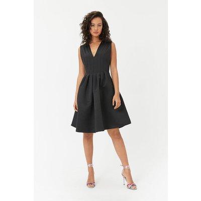 Plunge Structured Prom Dress Black, Black