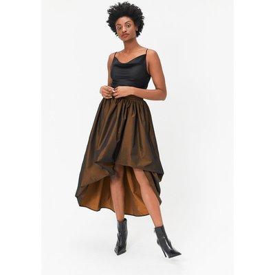 Coast Puff Detail High-Low Midi Skirt, Bronze