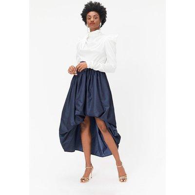Coast Puff Detail High-Low Midi Skirt, Navy