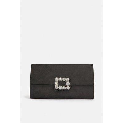 Embellished Buckle Clutch Bag Black, Black