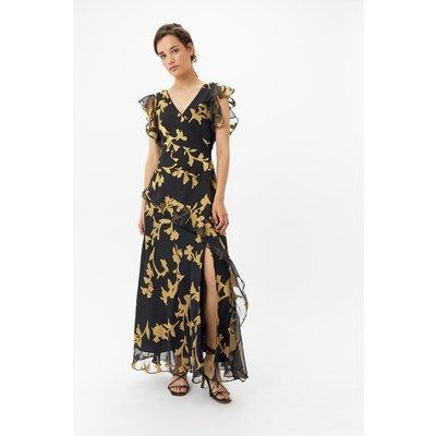 Plus Size Gold Burnout Maxi Dress Multi, Multi