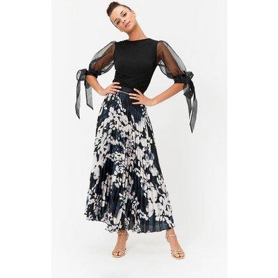 Animal Print Pleated Maxi Skirt Multi, Multi