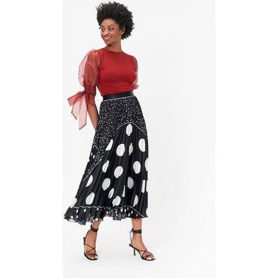 Coast Spot Print Pleated Midi Skirt, Black
