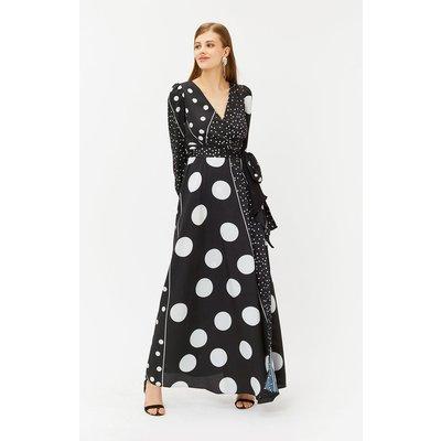 Spot Print Wrap Dress Black, Black