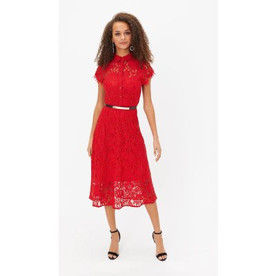 Belted Lace Shirt Dress Red, Red