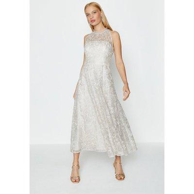Embroidered High Neck Mesh Midi Dress Silver, Silver
