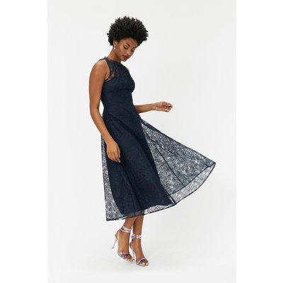 Embroidered High Neck Mesh Dress Navy, Navy