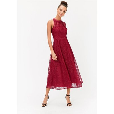 Embroidered High Neck Mesh Midi Dress Red, Red