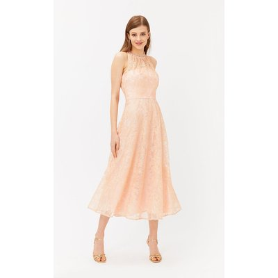 Embroidered High Neck Mesh Midi Dress Pink, Pink