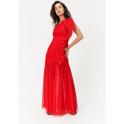 One Shoulder Ruched Midi Dress Red, Red