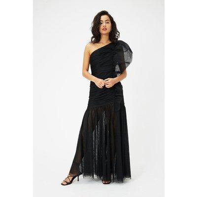 One Shoulder Ruched Midi Dress Black, Black