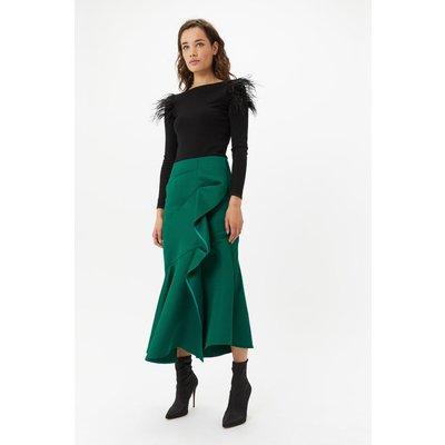 Coast Satin Ruffle Front Midi Skirt, Green
