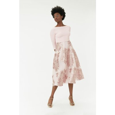 Metallic Clip Full Midi Dress Pink, Pink