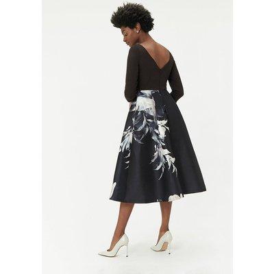 Curve Mono Floral Print Full Midi Dress Black, Black