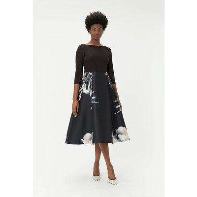 Floral Full Midi Dress Black, Black